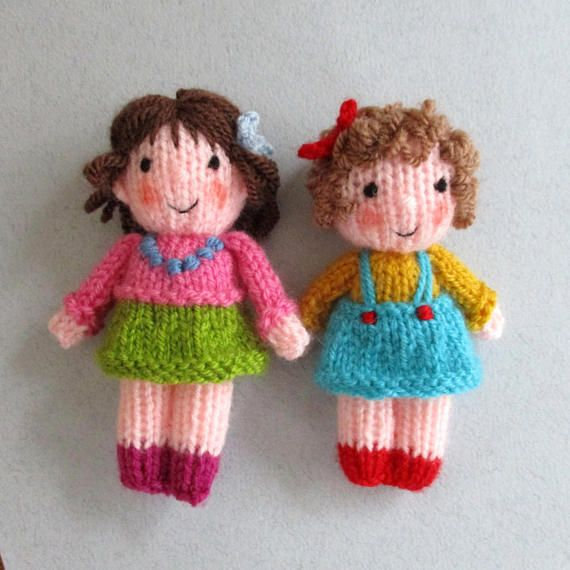 ** This knitting pattern is written in ENGLISH (other languages NOT available) ** CUTE LITTLE KIDS - measure 10cm (4 in). The 10 Cute Little Kids are great fun to make and will utilize lots of short lengths of coloured yarn. With different faces, hair and clothes each Little Kid will #knitteddollpatterns