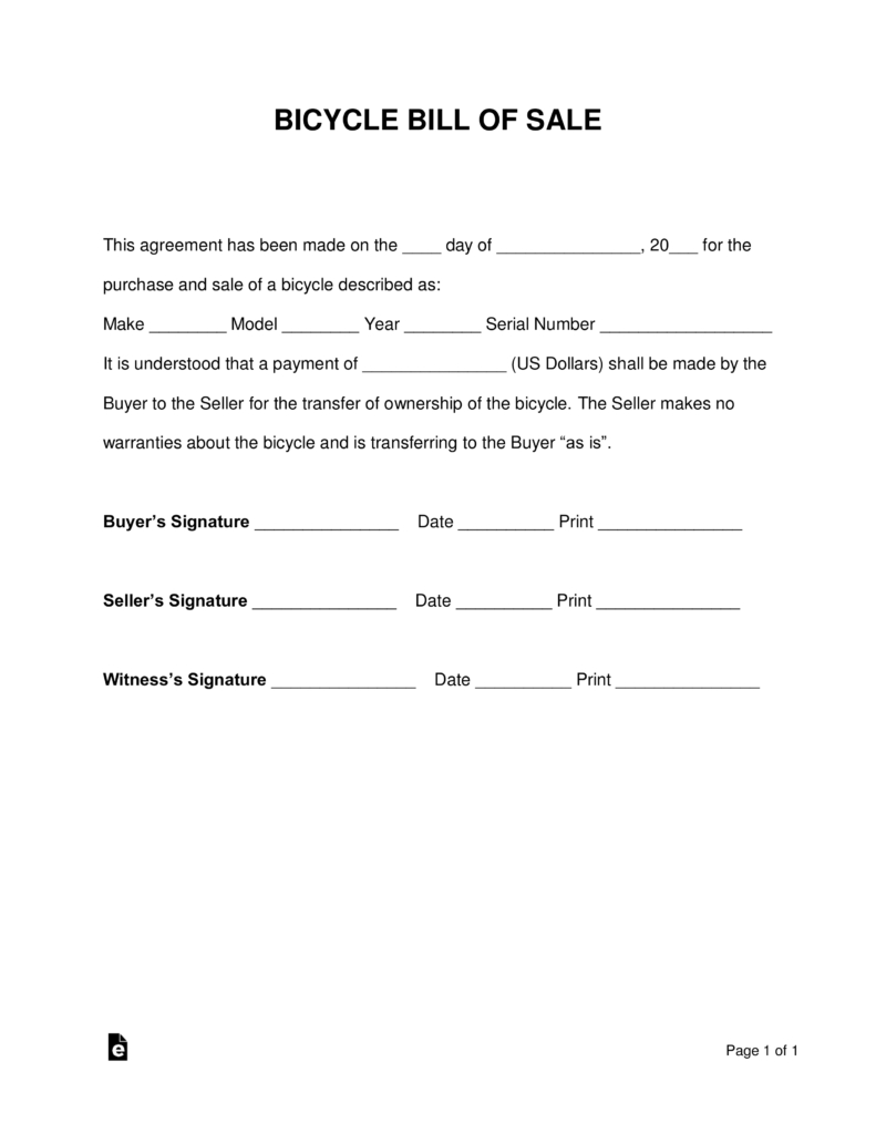 Free Bicycle Bill Of Sale Form Word Pdf Eforms Free Fillable Intended For Bicycle Rental Ag Rental Agreement Templates Receipt Template Bill Of Sale Template