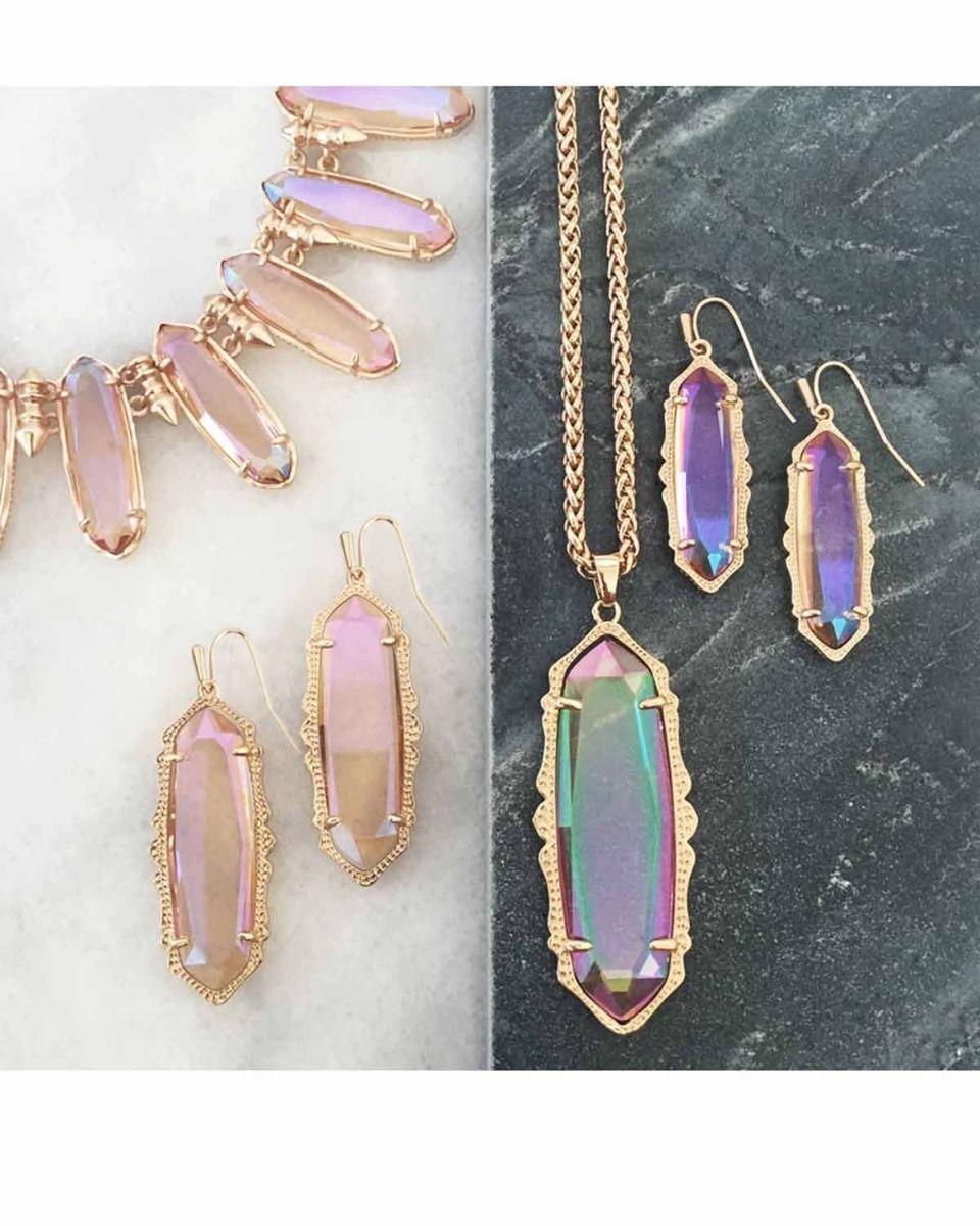 Kendra Scott Fran Long Oval Dangle Earrings in Iridescent Peach & Rose Gold