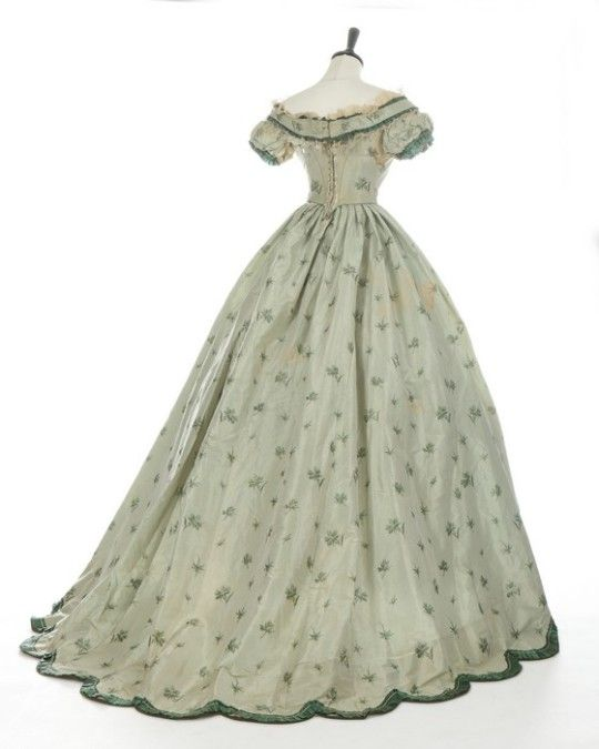 Green taffeta gown, circa 1860 | 1860s | Pinterest | Gowns, Vintage ...