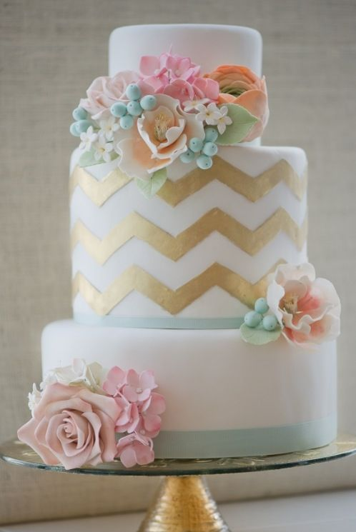 Soft pretty pastel cake with flowers and gold chevron.