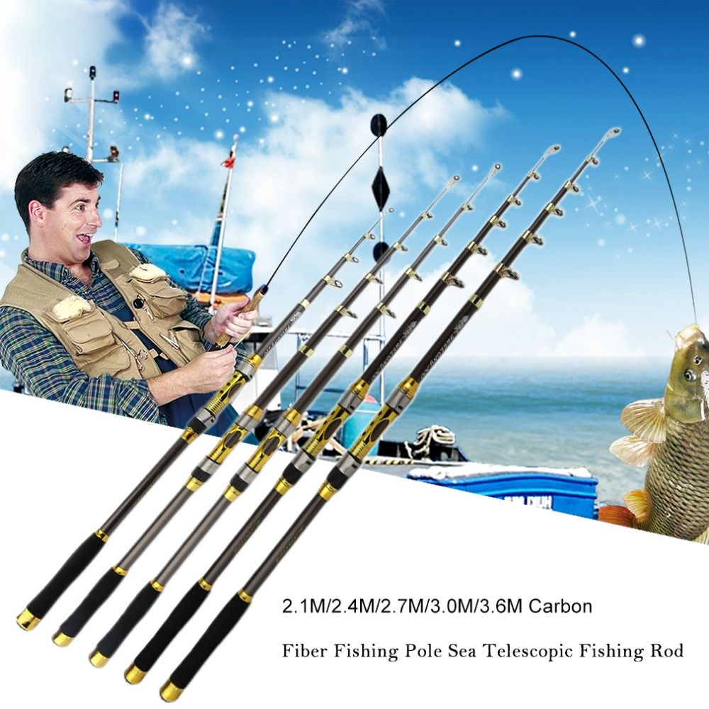 Portable Telescopic Fishing Rod Carbon Fiber Trout Carp Fishing Pole Sea Fishing Spinning Rod 2 1m 2 4m Fishing Pole Travel Fishing Rod Telescopic Fishing Rod