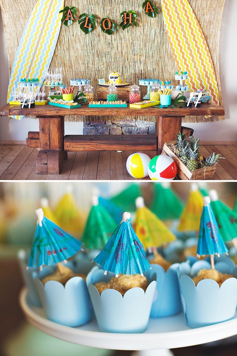 Hawaiian Surfer Big Kahuna Baptism First Birthday Party Hostess With The Mostess Luau Birthday Party Luau Birthday First Birthday Parties