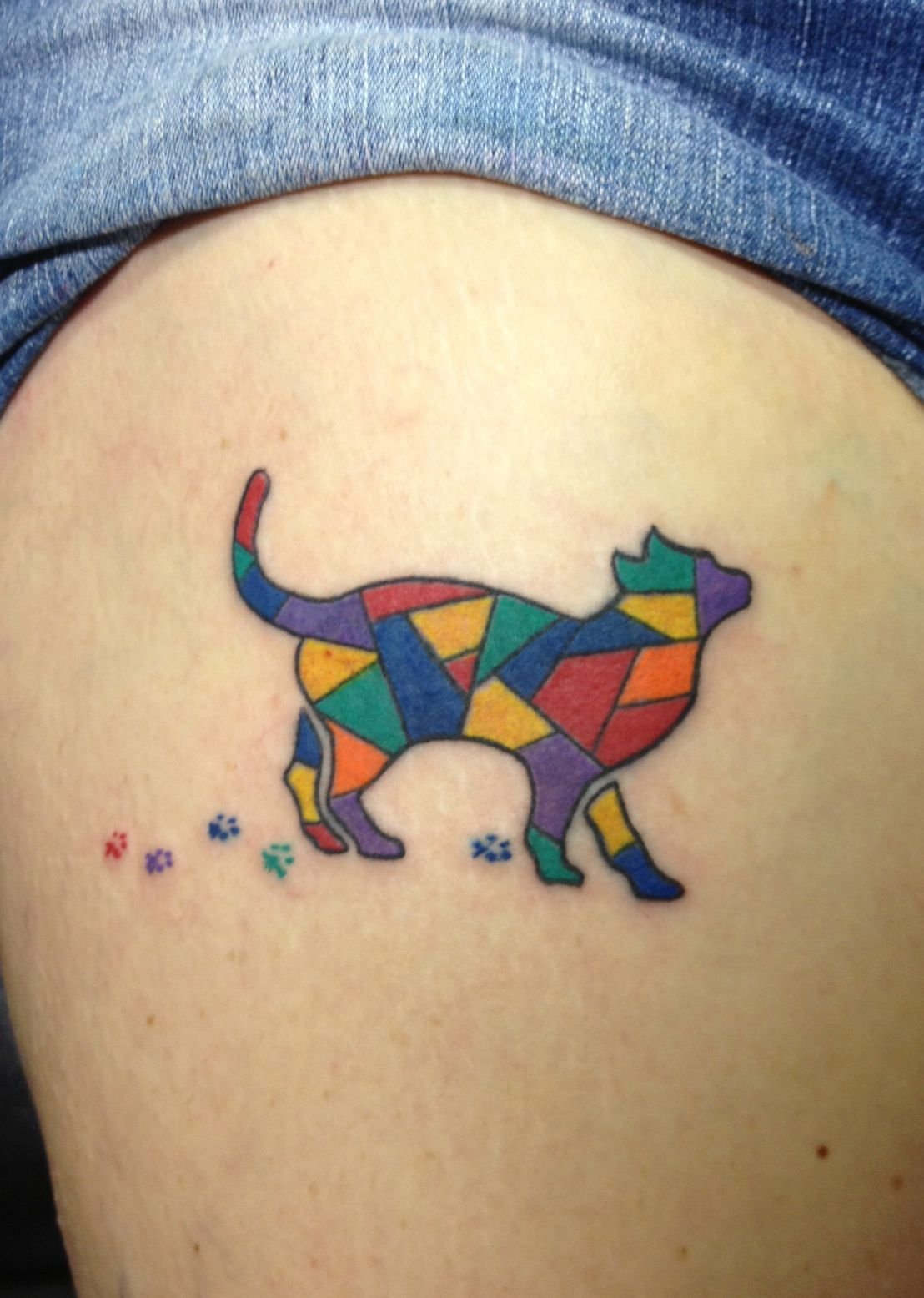 Stained glass Cat tattoo!! Shut the Front Door!!!