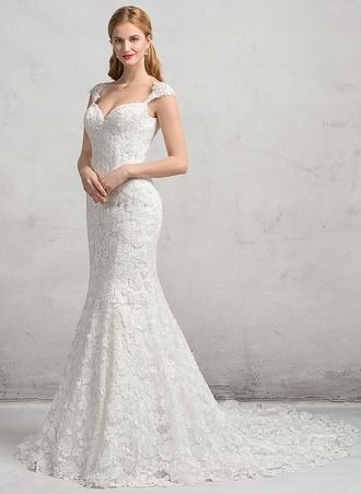 42ab013ed131 Trumpet/Mermaid Sweetheart Chapel Train Lace Up Cap Straps Sleeveless  Church General Plus No Winter Spring Fall Ivory Lace Wedding Dress