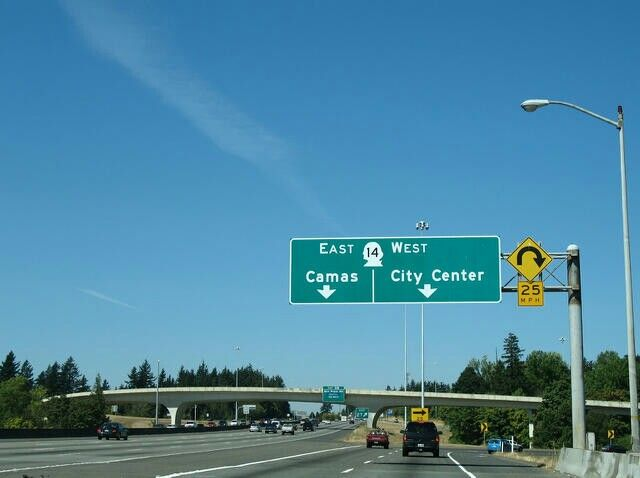 I 205 S Exit 27 Wa 14 East To Camas Wa 14 West To Vancouver City Center Vancouver City Camas Camas Wa