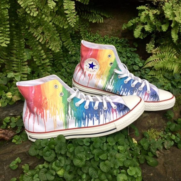 Ladies Color Crayon Drip Rainbow pride Custom Printed High Top... ($190) ❤ liked on Polyvore featuring shoes, sneakers, converse, star shoes, rhinestone sneakers, rainbow shoes, converse sneakers and high top trainers