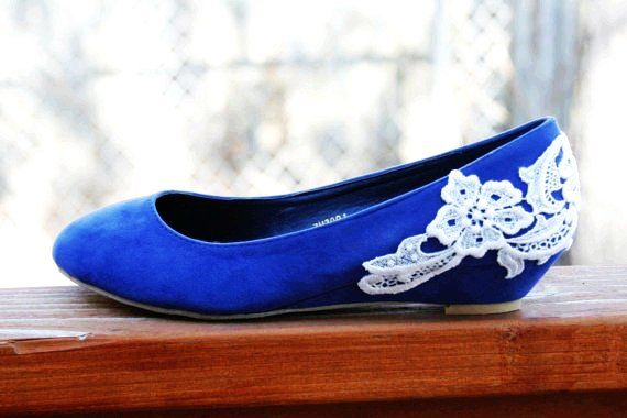 Blue Ballet Flat Low Wedge Heel With Venise Lace By Walkinonair Bridal Shoes Wedges