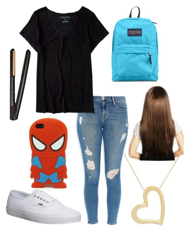 """Back to School- Day: 4"" by cynthia-judithh ❤ liked on Polyvore featuring Frame Denim, Aéropostale, Vans, JanSport and GHD"
