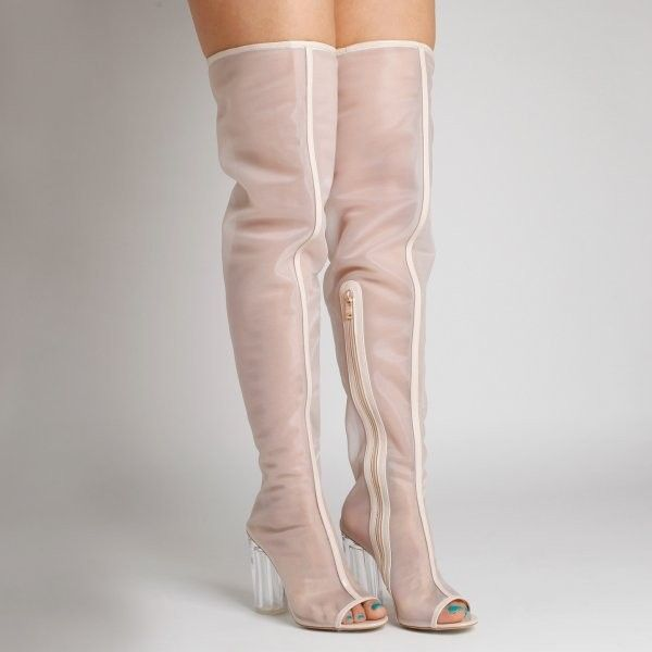 Chyna Mesh Nude Long Boots with Perspex heel ($55) ❤ liked on Polyvore featuring shoes, boots, transparent heel boots, glass heel shoes, clear-heel shoes, mesh boots and long shoes