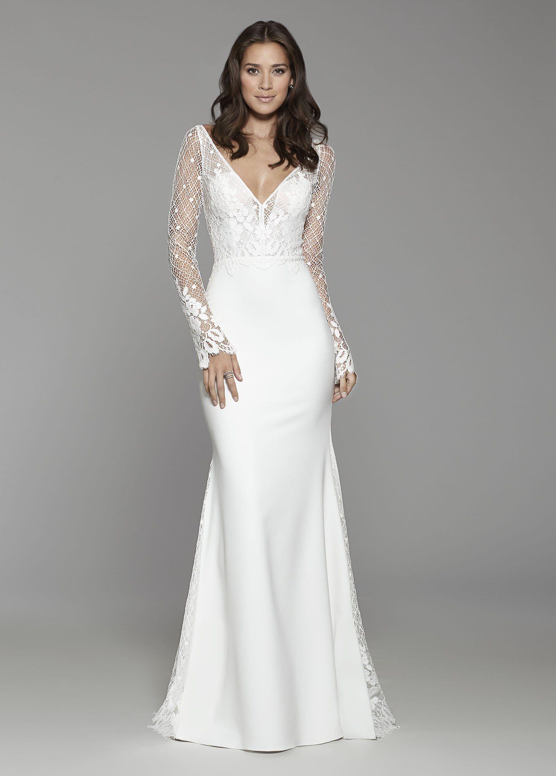 Diamond white Crepe long sleeve sheath gown, lattice