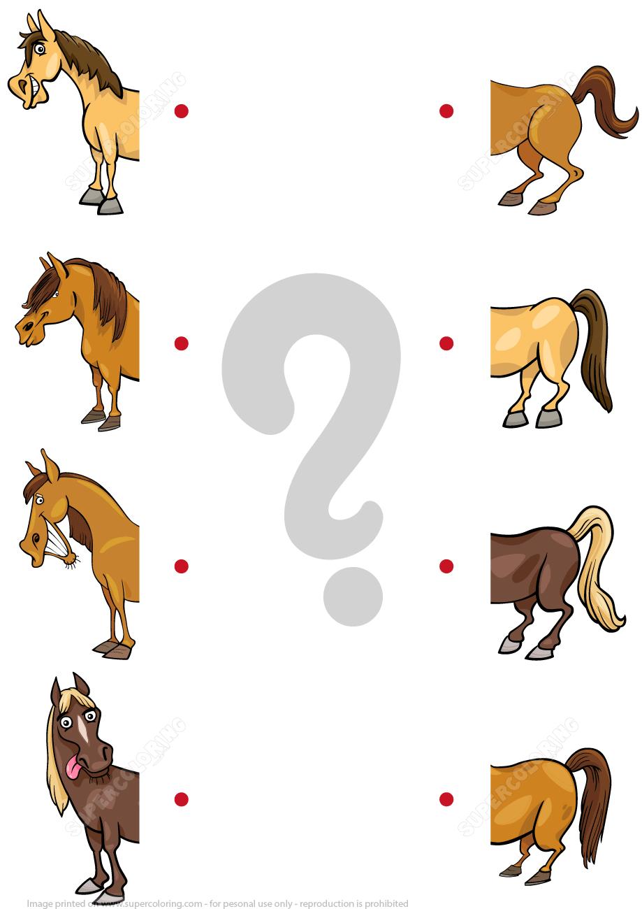 Match The Halves Of Cartoon Horses Worksheet Super Coloring Horse Crafts Kids Horse Crafts Logic Art [ 1300 x 919 Pixel ]
