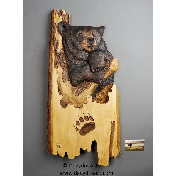 Black Bear Carving Wood Best Gift with Bark Unique Wall Art for Bear ...