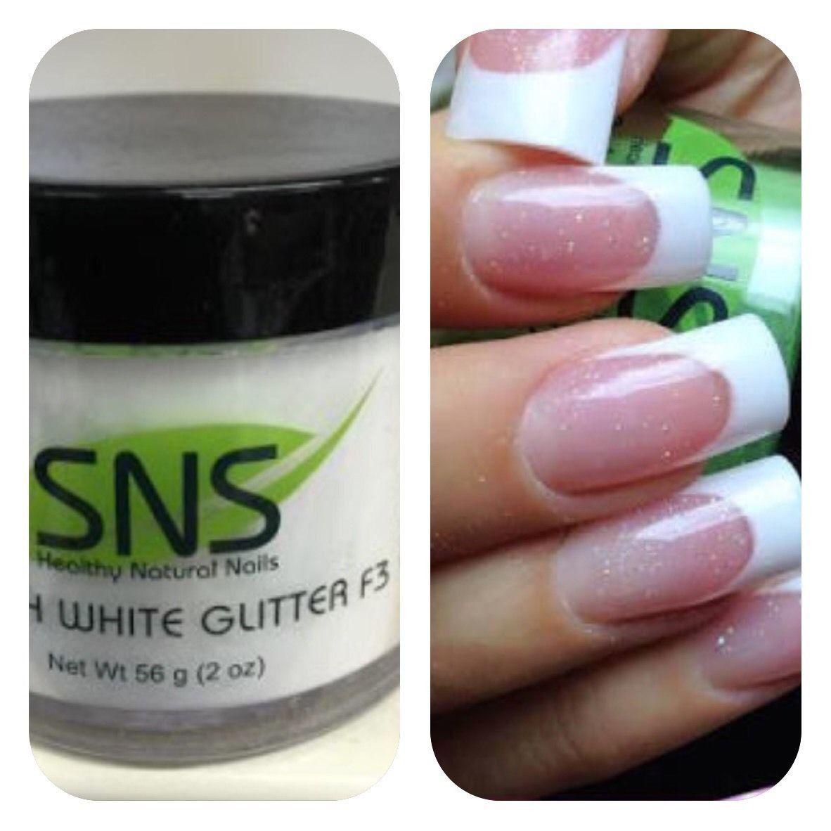 Sns French White Glitter F3 Signature Nail System Dipping Powder 2oz Sns Nails Colors Sns Nails Designs Sns Nail Powder