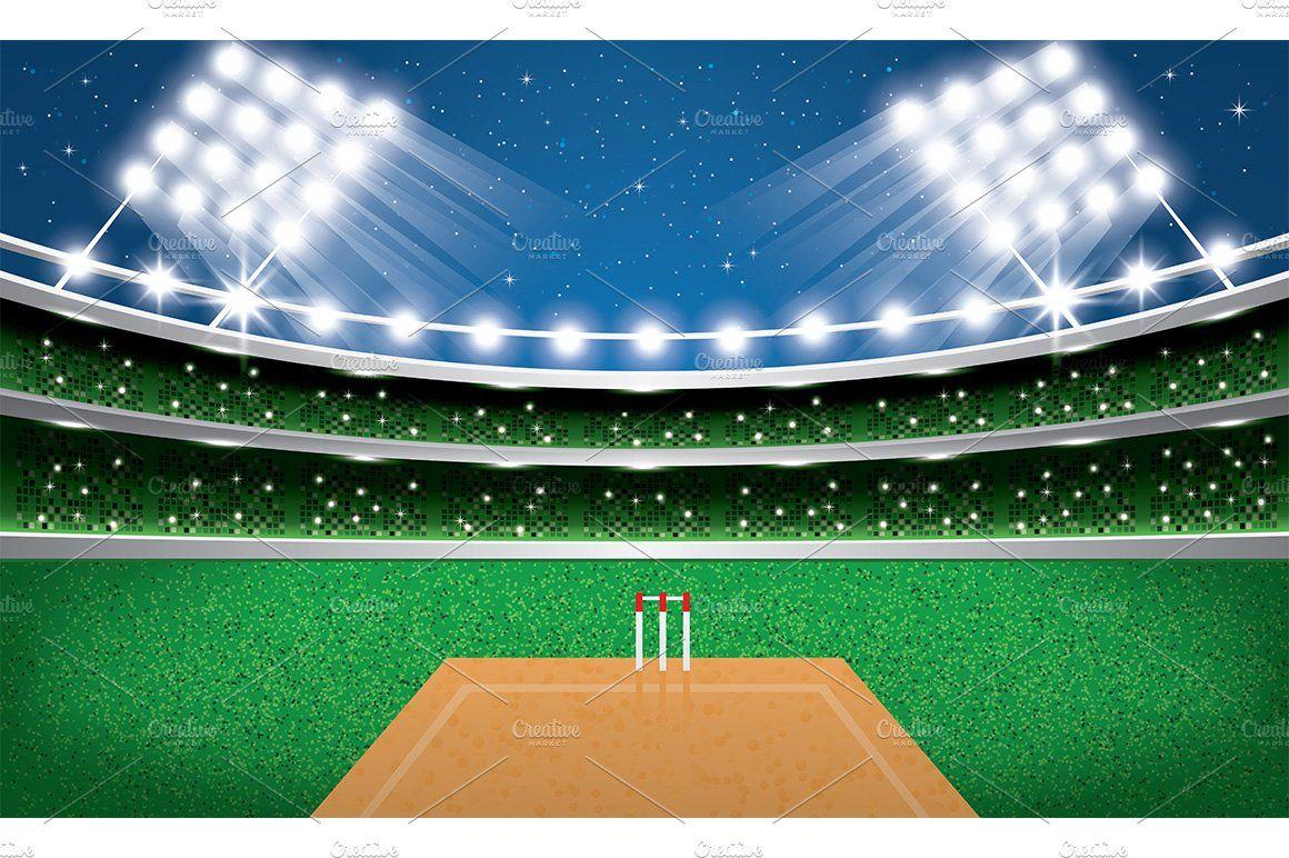 Cricket Stadium With Neon Lights Stadium Wallpaper Neon Lighting City Skyline Silhouette