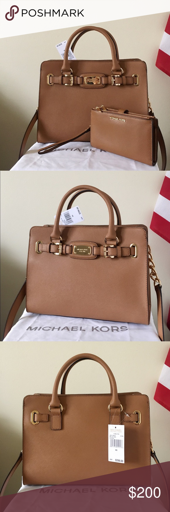 9b5f88641926 NWT Michael Kors Hamilton Satchel With Wallet Beautiful set! Acorn color  with gold detailing.