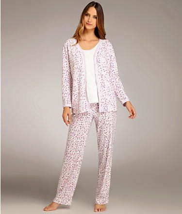 7080ff31eead4 Carole Hochman 3-Piece Knit Pajama Set Plus Size Sleepwear 189603X at  BareNecessities.com