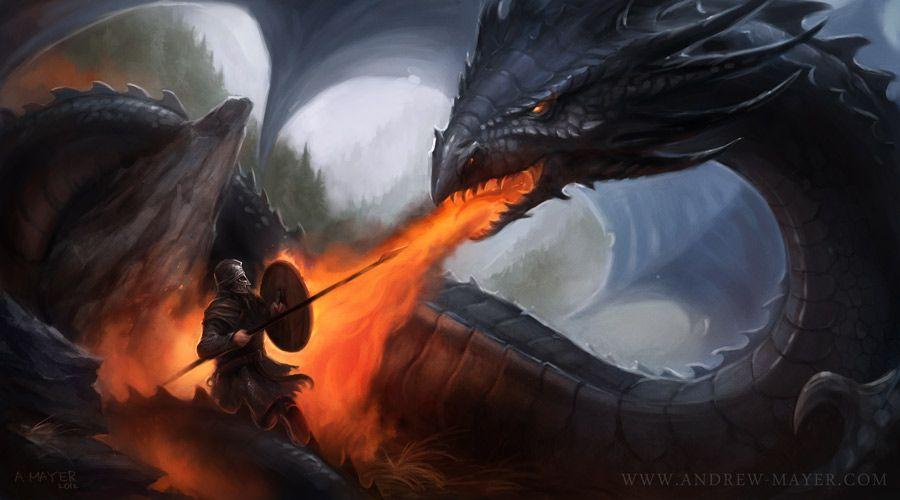 Beowulf se enfrenta a un dragón...