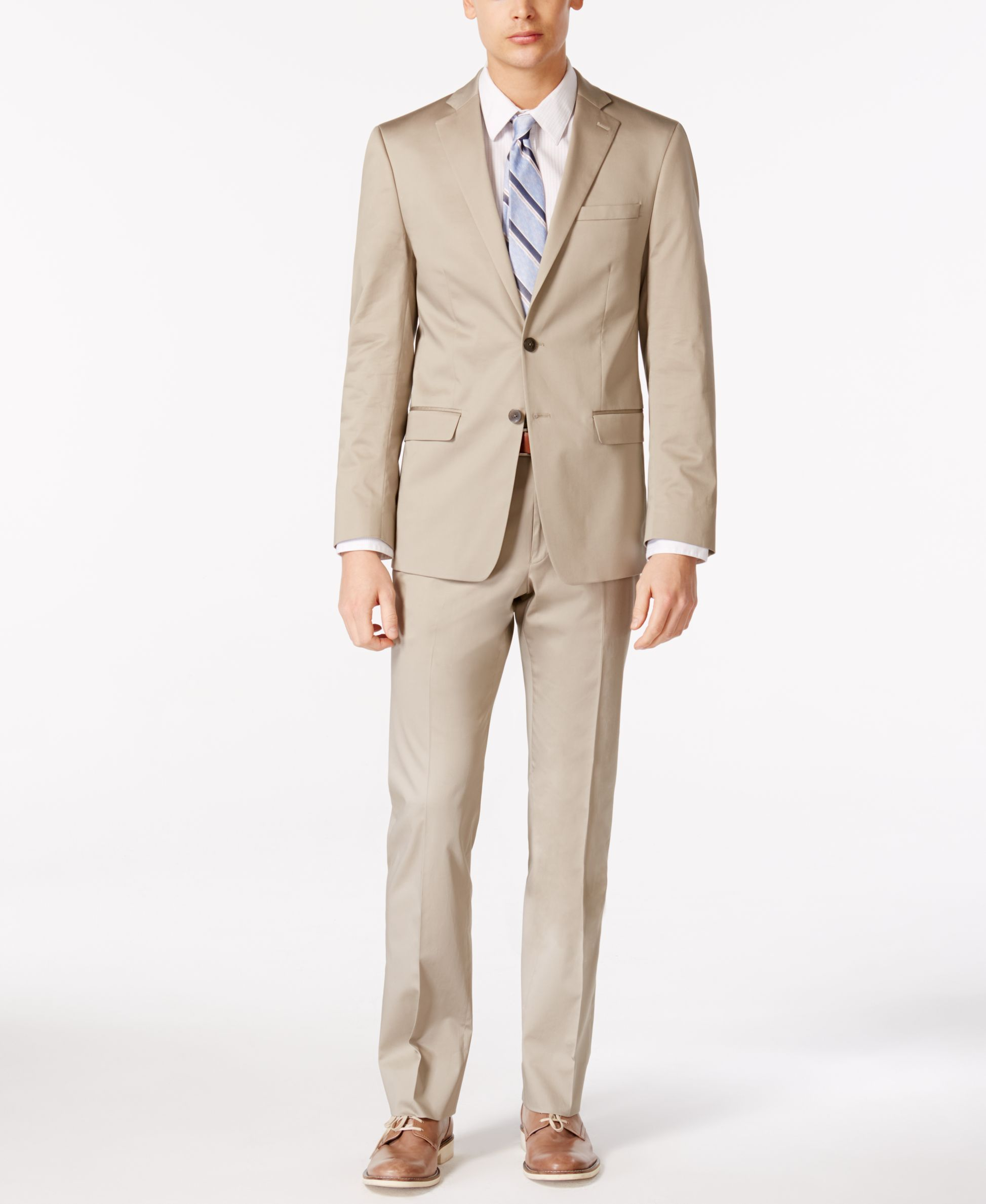 9eb247d0a2c6 Calvin Klein X-Fit Solid Tan Extra Slim-Fit Suit-I'm too brolic LOL but  seems like a nice cut