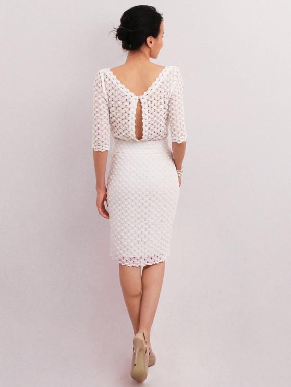 Weißes Bleistiftkleid, elegantes Midi-Kleid, mittleres ...