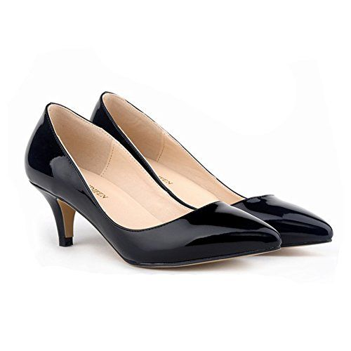 Leather · Ashlen Womens Patent Leather Pointed Toe Low Heel Pumps Work Shoes  ...
