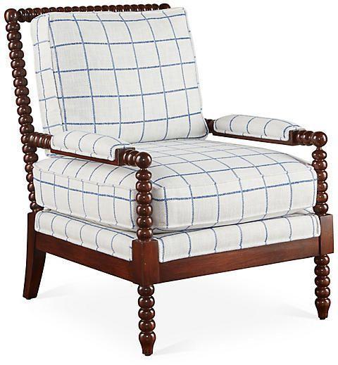 Best Bankwood Accent Chair Light Blue Plaid Miles Talbott 400 x 300