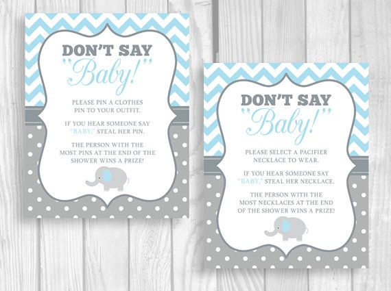 Printable Don T Say Baby 5x7 Or 8x10 Clothes Pin Or Pacifier Necklace Elephant Baby Shower Game