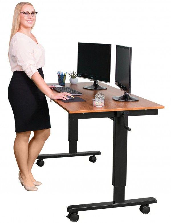 Sudc60ft Bk Tk Black Frame Teak Top Closeup Adjustable Height Standing Desk Standing Desk Stand Up Desk