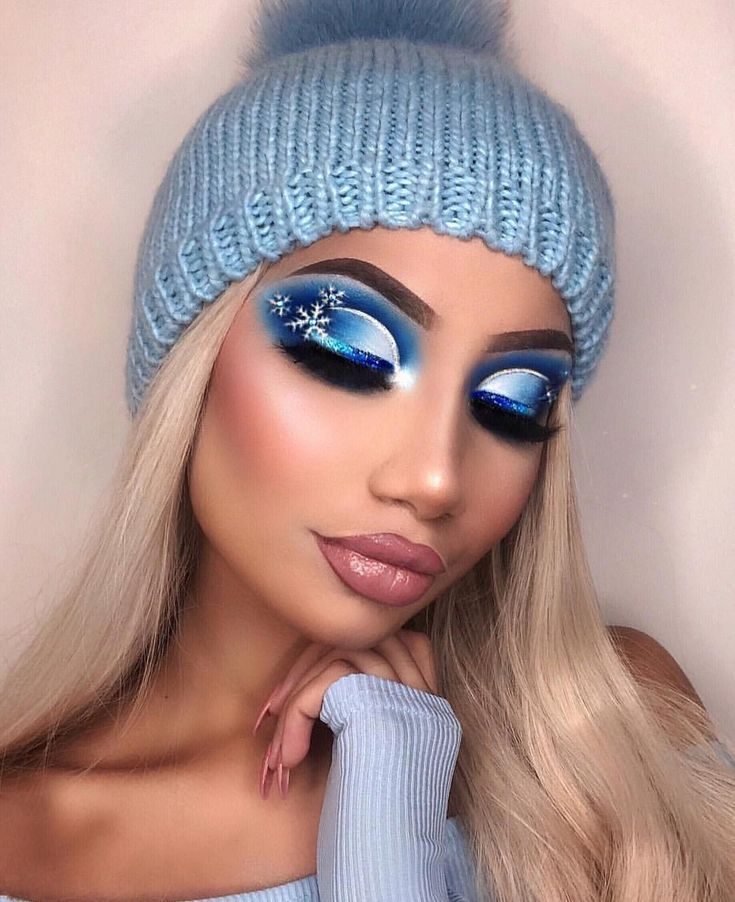 Icy blue snowflake makeup winter inspired makeup
