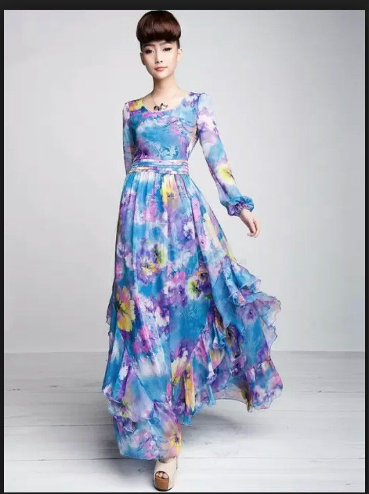 Beautiful Chiffon Floral Dress Maxi Dress Chiffon Dress Long Chiffon Long Sleeve