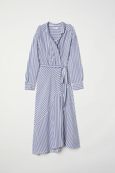 Striped Wrap-front Dress - Blue/white striped - Ladies   H&M US -   17 wrap dress 2018 ideas