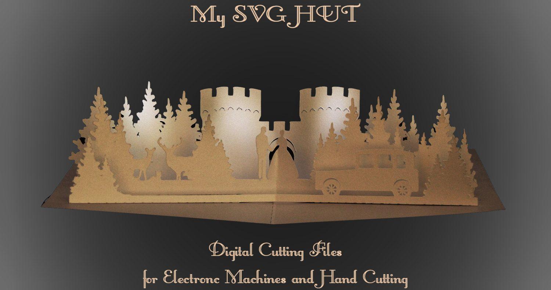 Card Making Ideas Pdf Part - 33: 3D SVG PDF Pop Up Card Castle Wedding DIGITAL Download By MySVGHUT On Etsy