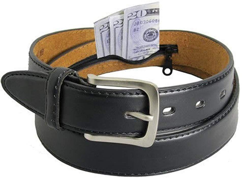 Mens black leather money belt sizes 32 through 56 34 at