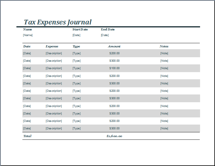 You Can Use The Tax Expense Journal Template To Make The Necessary