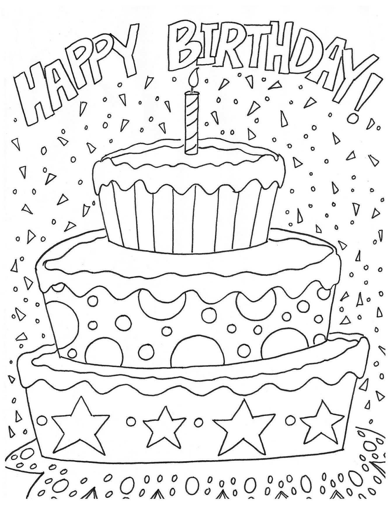 Coloring Page Happy Birthday Printable Dengan Gambar