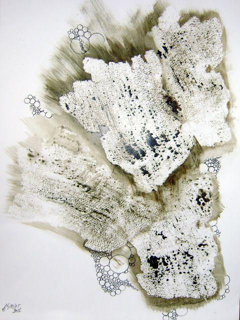 Folhas do mar caribenho (Caribbean sea leaves ) 0,42 x 0,30 Ténica mista:Acrílica e nanquim sobre Canson (Acrylics + China ink on Canson paper)