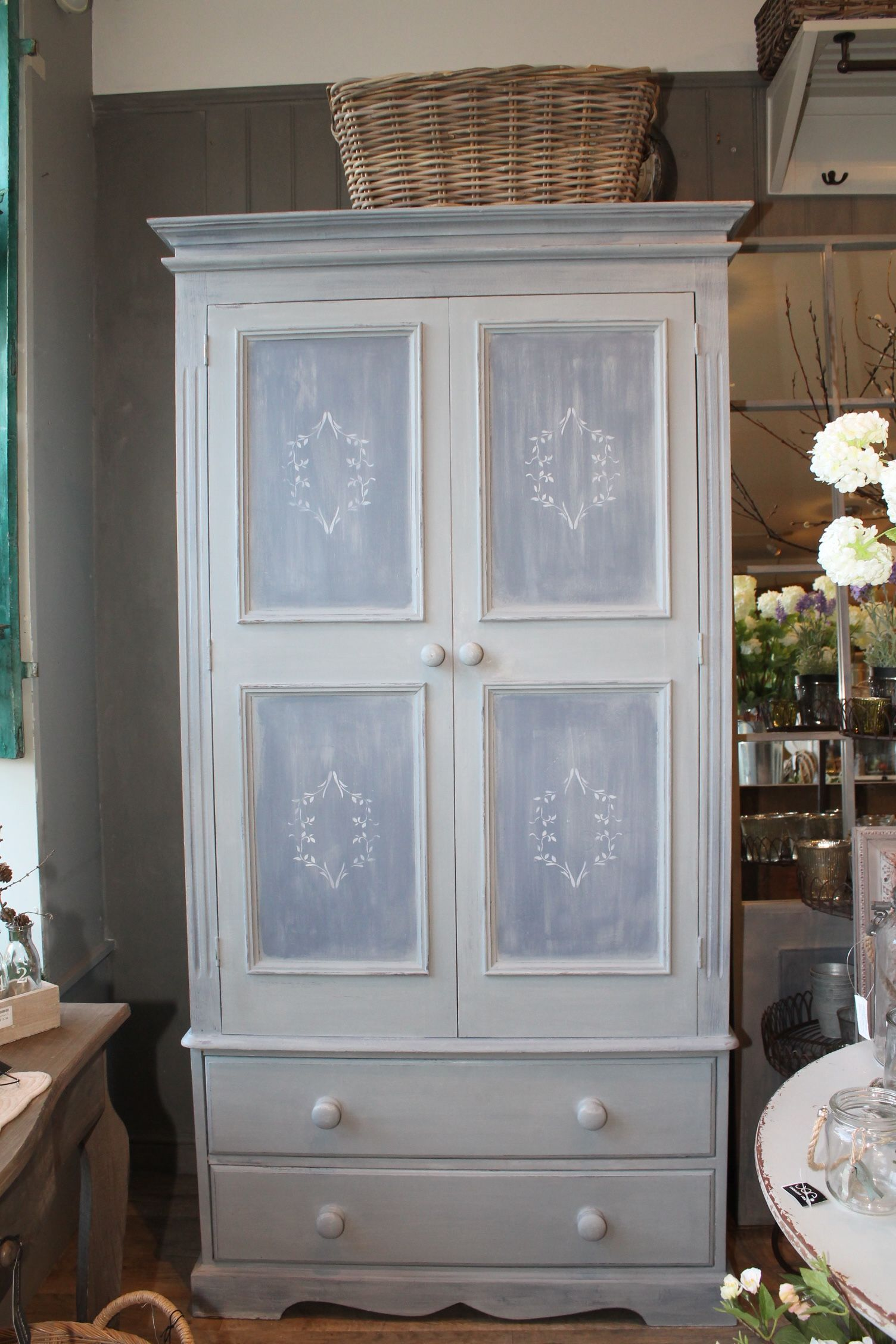 Swedish Style Wardrobe Painted In Mix Of Louis Blue And