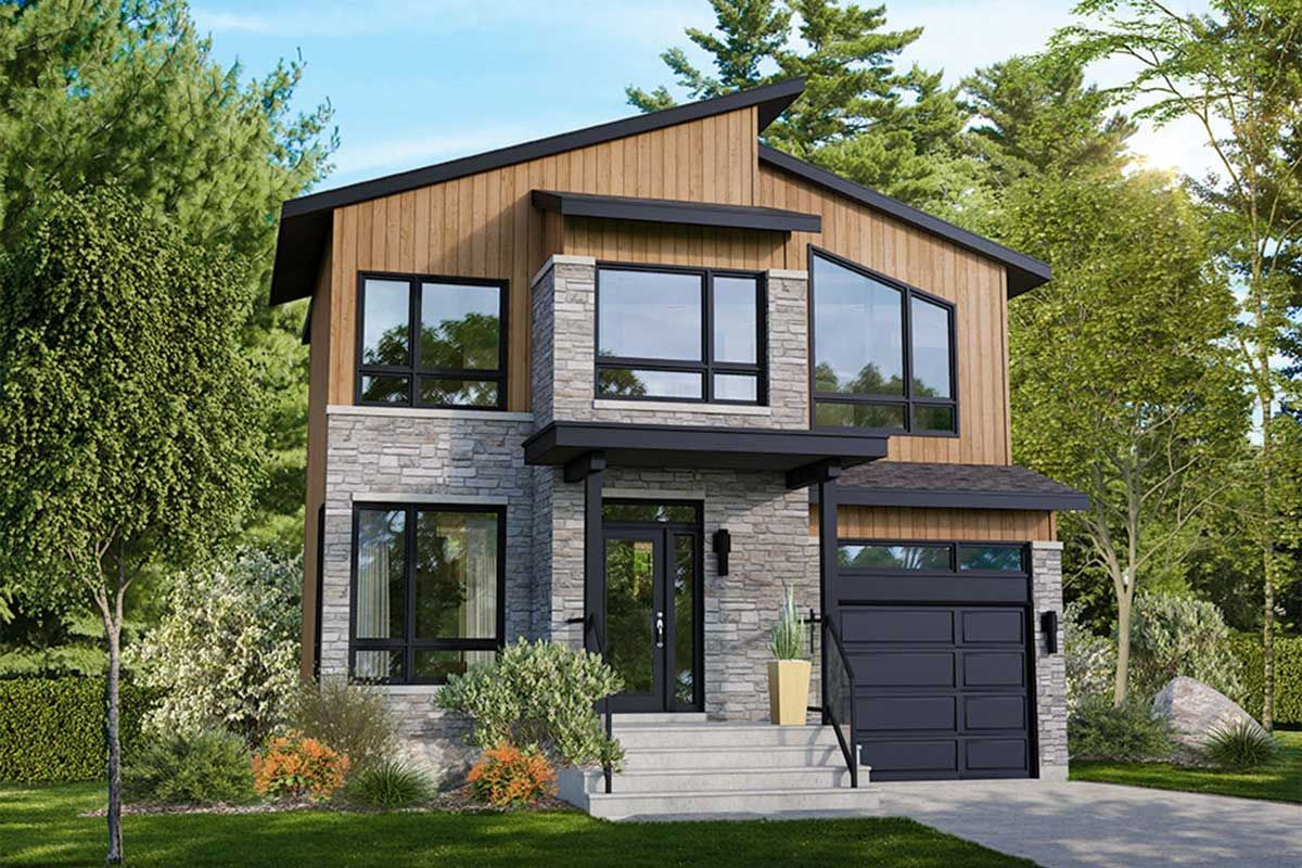Plan 80920pm Contemporary 3 Bed House Plan Industrial House Exterior Modern Style House Plans Contemporary House Plans