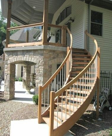 Best Curved Stairs Deck Stair Railing Patio Stairs Glass 640 x 480
