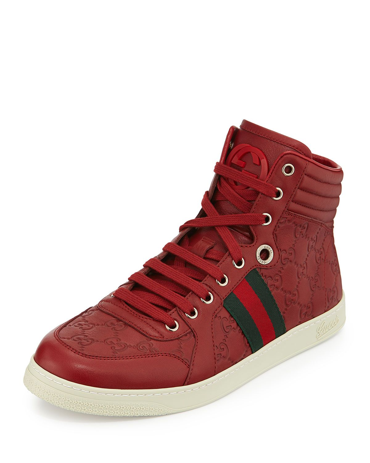 Gucci Leather HighTop Sneaker w/ Web, Red High top