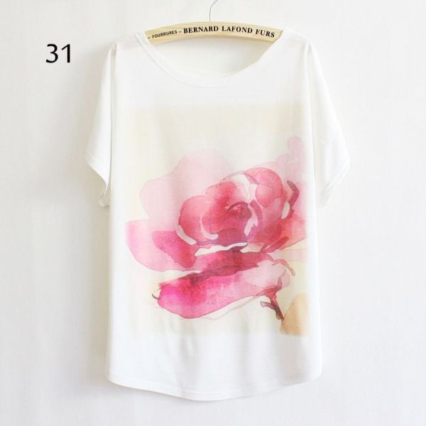 rose flower casual tshirt   Fashion, Batwing sleeve top, T ...