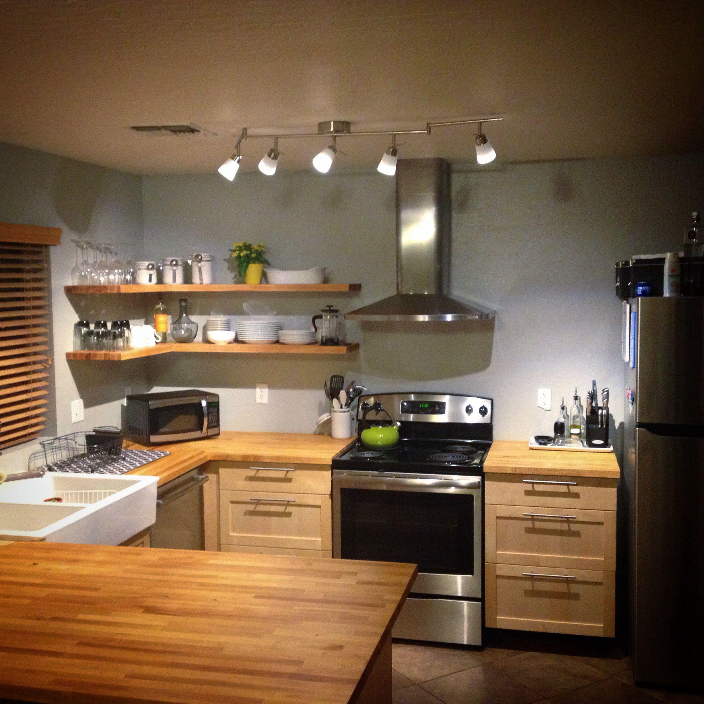 Open shelving in IKEA kitchen. Phoenix kitchen. Modern