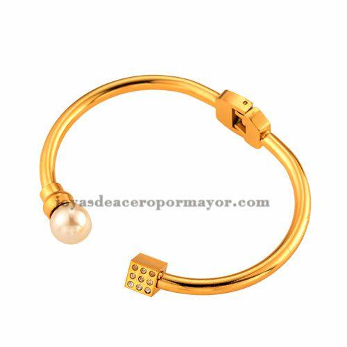 venta pulseras de perlas con cristal de acero para damas