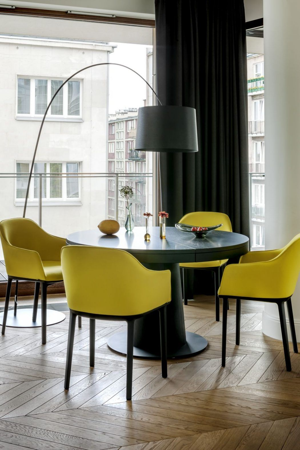 Designed By Anna Koszela This Elegant Contemporary Apartment Is Located In Warsaw Poland Dining Floor Lamp Floor Lamps Living Room Floor Lamp Design #tall #floor #lamps #for #living #room