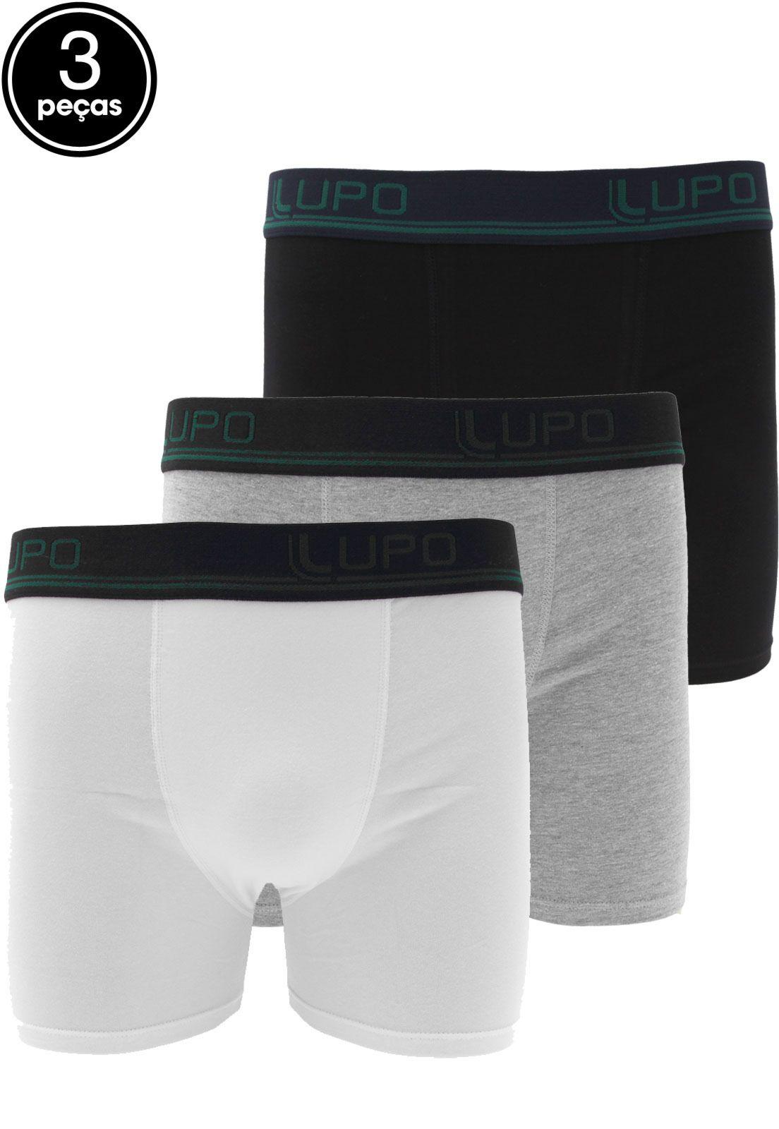 4852946437a5f8 Kit 3pçs Cueca Lupo Boxer Lettering Branco/Preto/Cinza | Products em ...