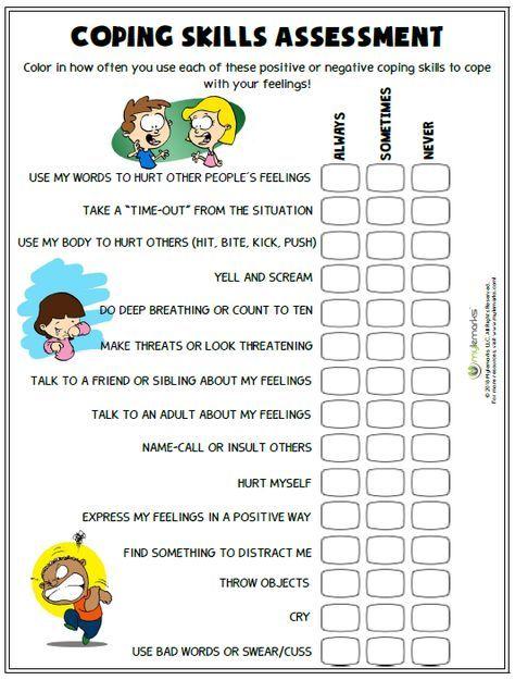 coping skills assessment worksheets parents and child. Black Bedroom Furniture Sets. Home Design Ideas