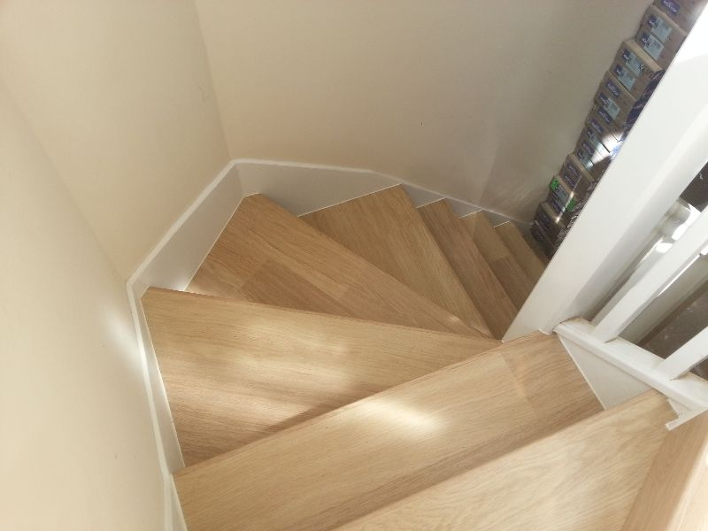 Stairs Fitted Using Quick Step 800 White Varnished Oak