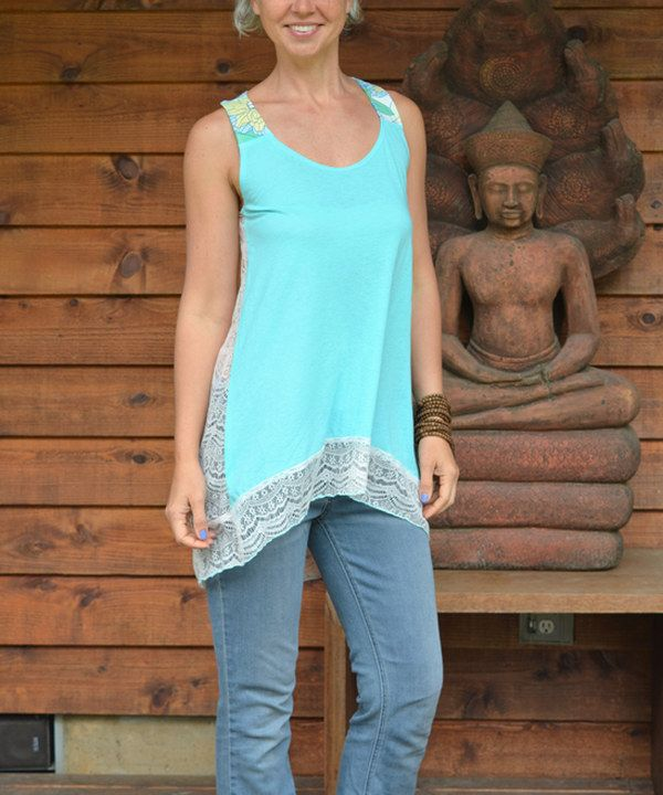 Look at this Spicy Green Mango Sky Blue & Light Gray Free & Flair Tunica Hi-Low Tunic on #zulily today!