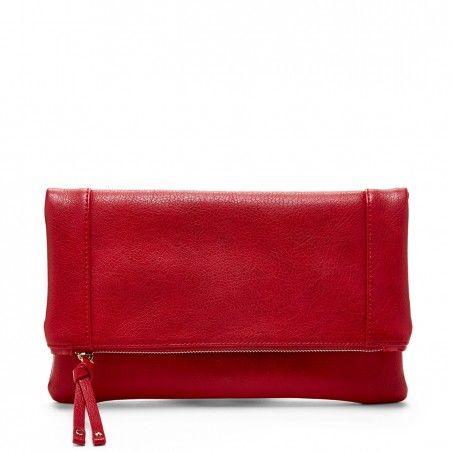 Women's Red Vegan Leather Vegan Foldover Clutch