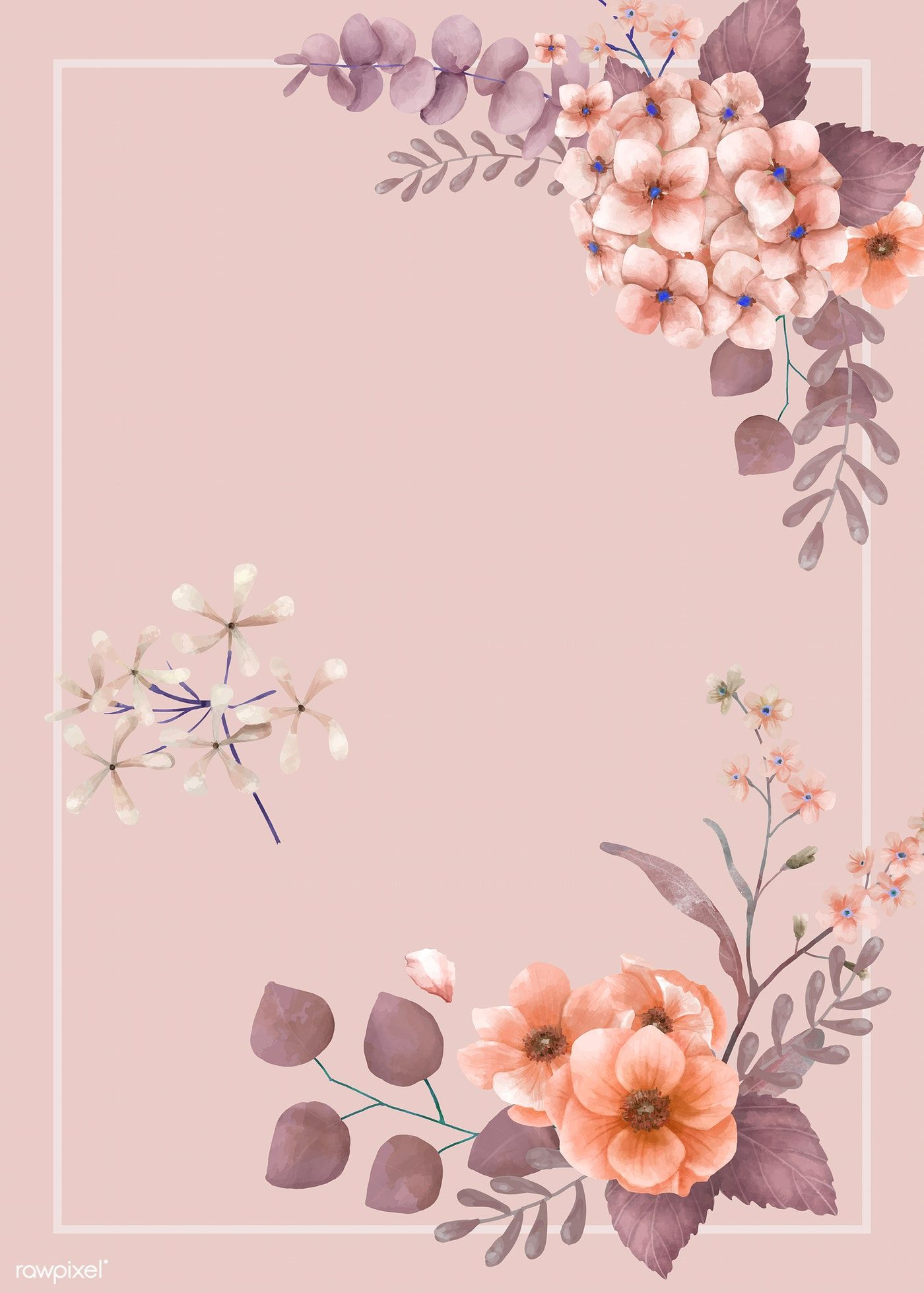 Download Premium Vector Of Pink Themed Floral Wedding Card 466739 Wedding Invitation Background Wedding Cards Invitation Background